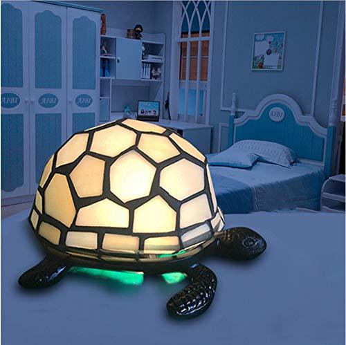 Retro Schildkröte Nachtlicht Tiffany Lampe Schlafzimmer Nachttischlampe Dekoration Schreibtischlampe Metall Glas Schildkröte Tischlampe Weiß