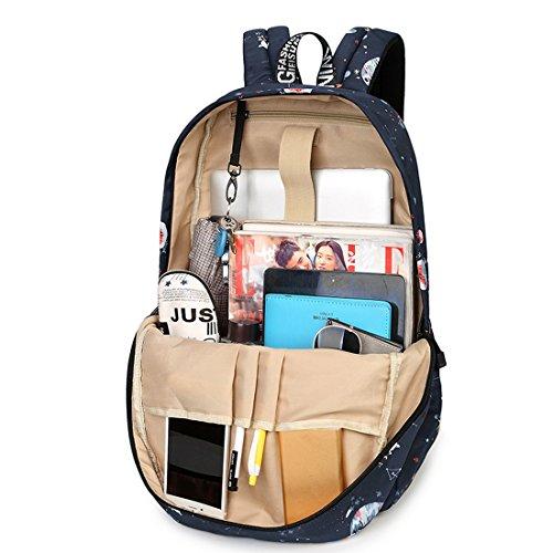 Joymoze Wasserdicht Süß Schule Rucksack für Jungen und Mädchen Leicht Schick Bedruckt Bücher Tasche Schwarz 844 Sterne