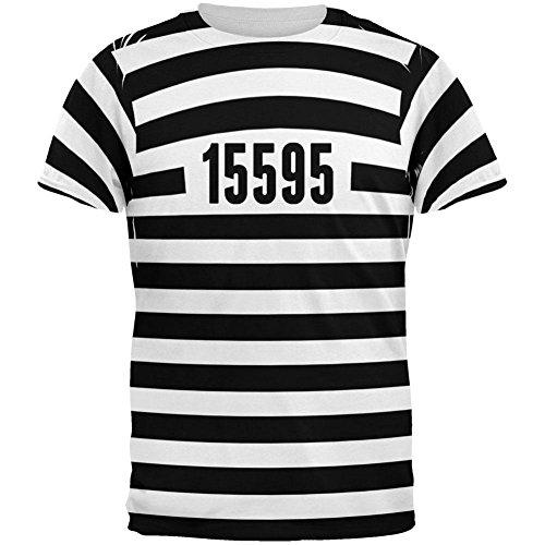 alten Zeit gestreifte Kostüm aller Erwachsenen T-Shirt-X-Large (Gefangene Shirt Erwachsene Kostüme)