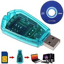 Blu USB SIM Card Reader Adapter cellulare standard Copy WRITER backup SMS GSM/CDMA + CD ^.
