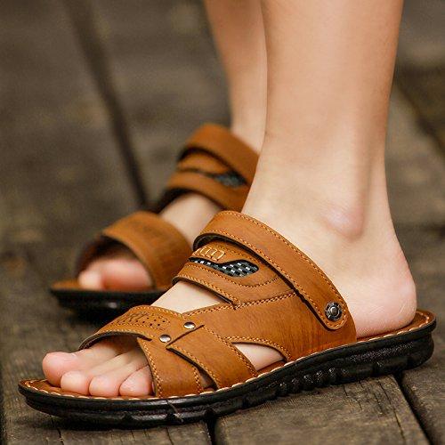 Xing Lin pour homme Sandales dété pour homme Sandales Sandales, Chaussures de plage, les orteils, décontracté, respirant, anti glissant, froide, froid, chaussons et dété double usage Jaune