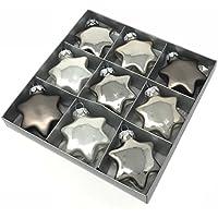Glasstern MILLY - 9 Stück - Silber - Christbaumschmuck - Weihnachtsdeko - Anhänger (5 cm)