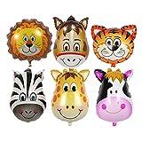 Animale Foglio di alluminio Palloncino,6 pezzi Pallone Gonfiato Animale Foil Palloncini per la Decorazione Della Festa di Compleanno dei Bambini