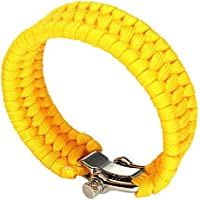 SODIAL(R) Cuerda de paracaidas Pulsera de supervivencia con clips de metal color amarillo Nuevo diseno