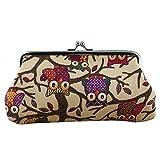New Fashion Women Lovely Style Lady Wallet Hasp Owl Purse Clutch Bag (Khaki)