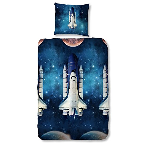 good morning! Bettwäsche Set 5748 Roy blue Space Shuttle 2-tlg blau Weltall Raumschiff Sterne 100% Baumwolle, Größe:135x200 cm + 80x80 cm