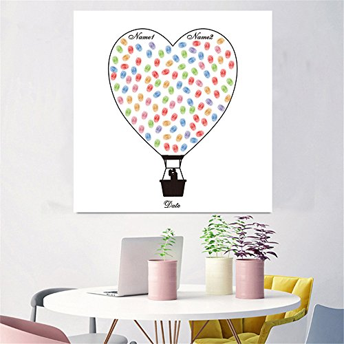 ARIESDY Kreatives DIY Gästebuch mit Signatur, Fingerabdruck-Gemälde für Hochzeit Geburtstag Party Leinwand Hochzeit Unterschrift Gästebuch Heißluftballon, a, 50x50cm (excluding Frames)