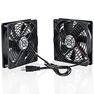 ELUTENG USB Fan 120mm Fan USB Computer Fan 1500RPM 56CFM 5V Fan USB Dual Fan - 2 In 1 Cooling Radiator with Black Metal Grill Cooling Fan for PC/ PS4/ Xbox/TV Box/Laptop/ AV Cabinet etc. (Black)