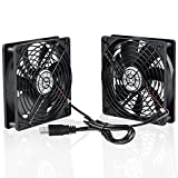 ELUTENG Ventilador USB Doble 12cm Fan Portatil 5V 0.3A Ventilador PC USB 2 In 1 con Parrilla de Metal USB Fan Ventilador 120mm para Laptop/Receptor/Armario AV