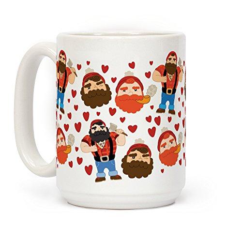 LookHUMAN Holzfäller Love Kaffeetasse aus Keramik, 425 ml, Weiß