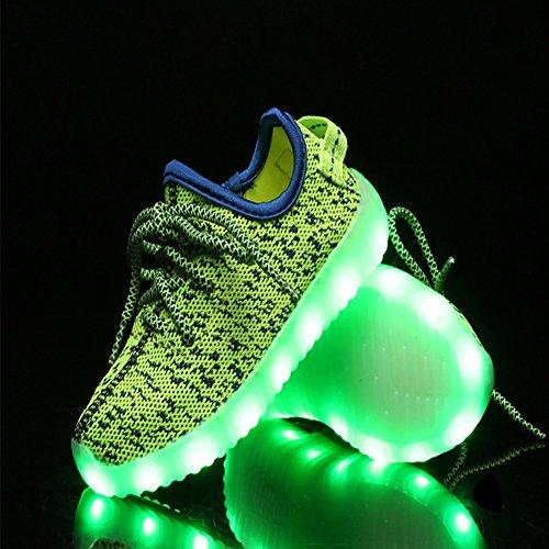 [Led Chaussures lumineuse Enfant]Pour Garçon Fille En Tissu Transpiration et Légère Pour Course Fitness Baskets chaussures de sport-iBaste Vert