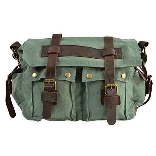 CTM Le sac à bandoulière en toile de femmes, large ceinture de l'épaule et de détails en cuir véritable 38x24x12 cm