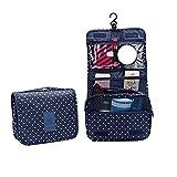 Gespout Neceser de Maquillaje Cosmético Bolsa Paquete Almacenamiento Caso de Gran Capacidad Bra Toalla para Mujeres Niñas Viaje Baño con Colgado Bolso Paño de Impermeable 24cm*18.5cm*9.5cm(Azul)