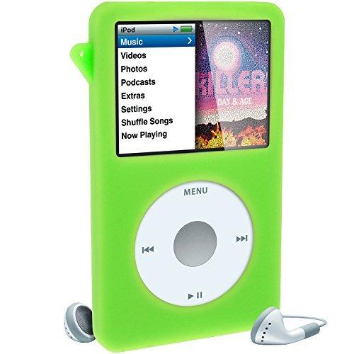 igadgitz Silikon Schutzhülle Skin Case Cover mit Displayschutzfolie, Schlüsselband für Apple iPod Classic 80GB, 120GB & (160GB Erscheinung ab Sept 09)-Grün (Apple-ipod Classic-ohrhörer)