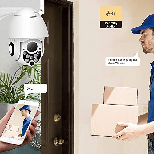 PTZ Kamera Aussen WLAN IP Dome Überwachungskamera 1080P Pan 320°/ Tilt 110°, Zwei Wege Audio, APP Alarm, Farbige Nachtsicht, Bewegungserkennung, Fernzugriff (SD Karte Enthalten)