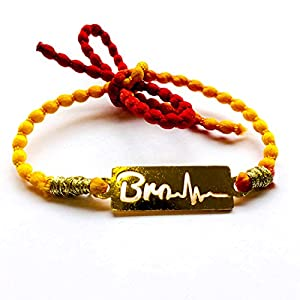 Feyre Steel Gold Polish Personalised Rakhi For Men/Boys (Bro Lifeline)