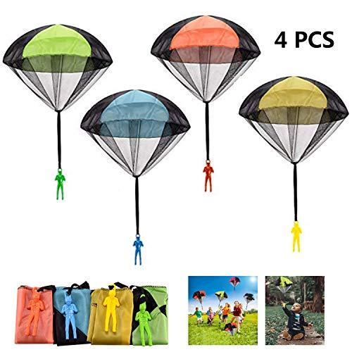 FUNVCE Fallschirm Spielzeug Kinder, 4 Stück Fallschirmspringer Hand werfen Fallschirm Outdoor Flugspielzeug Geschenk für Kinder, Wurf Parachute Spiele für Draußen -
