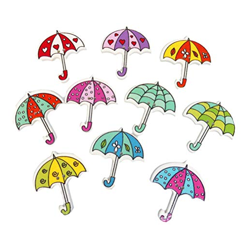 SUPVOX Botones Costura Paraguas Madera 2 Agujeros