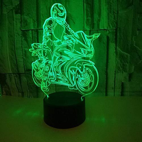 3D-Nachtlicht, Fernbedienung Nette 3D-visuelle LED-Tischlampe Reiten Motorrad Nachtlicht USB-Anschluss Kindliches Schlafzimmer Zusätzlich zu Kinder Kinder Neujahrsgeschenk (Reiten-traktor Für Kinder)
