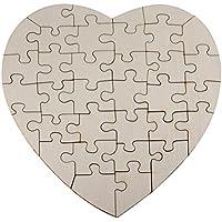 Holzpuzzle Herz zum bemalen und selbst gestalten, leeres Puzzle aus Schichtholz in Herzform, 34 Teile, ca. 20 x 20 cm
