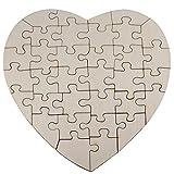 Kopierladen Holzpuzzle in Herzform zum bemalen und selbst gestalten, 34 Teile, ca. 20 x 20 cm, leeres Puzzle aus Schichtholz