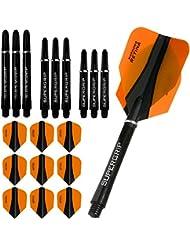 Harrows Retina-X Kit de 9 ailettes standards et tiges ergonomiques 3 formats pour fléchettes Orange