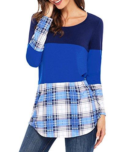 Donna Elegante Casuale Rotondo Collo Manica Lunga A-Line Pullover Vestito T-shirt Abito Beach Vestiti Shirts Lago Blu