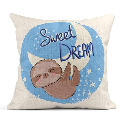 Dekokissen Colorful Adorable Cute Animal Sloth und Phrase Sweet Dream für Kinder Pyjamas Schöne Leinen Kissen Home Dekorative Kissen (Dreams Sweet Pyjamas)