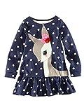 HUIHUI Kleid Mädchen, Toddler Mädchen Kleid Langarm Deer Punkt Drucken Party Prinzessin Dress Casual T-Shirt Kleid Frühlings Herbst Cocktailkleid Sommerkleider (130 (5-6Jahre), Dunkelblau)