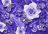 Fototapete lila perlen Blumen Diamanten Seidentuch Blumenranke Gold Silber Schmetterlinge XXL 400 x 280 cm - 8 Teile Vlies Tapete Wandtapete - Moderne Vliestapete - Wandbilder - Design Wanddeko -