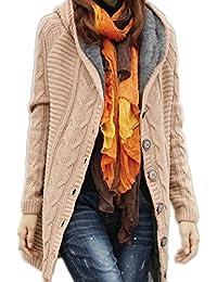 YOGLY Epais Hiver Tricot Torsadé Cardigan Tricoté Haut Femme Plus La Taille Câble Manches Longues Tricoté Pulls