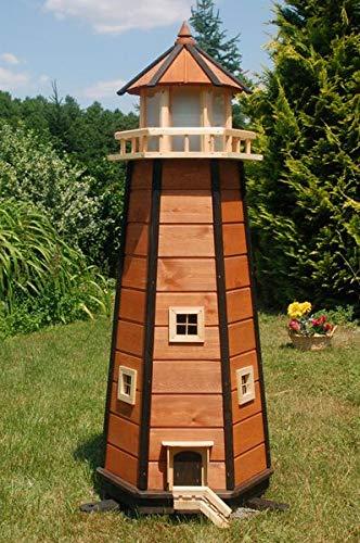 Deko-Shop-Hannusch Wunderschöner großer XXL Leuchtturm aus Holz mit LED Solar Beleuchtung 1,40 m, blau/Weiss