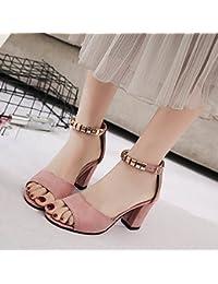 GAOLIM Zapatos De Tacón Alto Sandalias Zapatos Biselado Mujeres Con Zapatos De Lija Grueso Primavera Y Verano