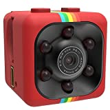 Mini cámara,SENSU 360 Grados FOV visión Nocturna 1080P HD DVR videocámara Mini Coche DV DVR cámara Oculta Spy Dash CAM IR C Tarjeta TF Ayuda (Rojo)