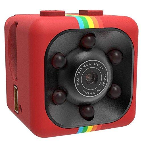 Mini Kamera,SENSU 360 Grad FOV Nachtsicht 1080P HD DVR Camcorder Mini Auto Versteckte DV DVR Kamera Spy Dash Cam IR C Unterstützung TF-Karte (Rot)
