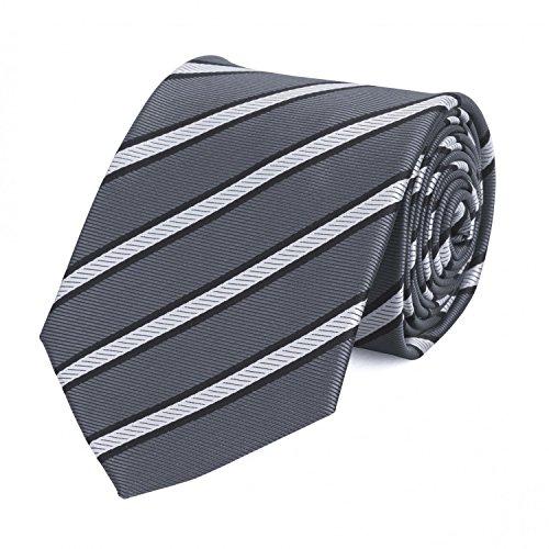 Fabio Farini klassische 8 cm Krawatte, grau mit weißen Streifen Anzug, Buisness, Hochzeit (Streifen Seide Weiß Grau)