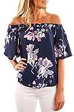 YOINS Off Shoulder Top Tunika Damen Bluse Elegant Schulterfrei Oberteil für Damen Blumenmuster-08 EU40-42