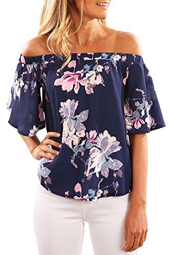 YOINS Off Shoulder Top Tunika Damen Bluse Elegant Schulterfrei Oberteil für Damen Blumenmuster-08 EU46 -