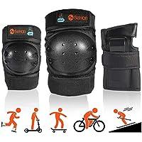 Inliner Schoner Set für Kinder ab 3 bis 12 Jahre - 6 in 1 Schutzausrüstung Set mit 2 Knieschoner + 2 Ellbogenschoner + 2 Handgelenkschoner, Ideal für Skateboard,Skifahren,Roller oder Radfahren.