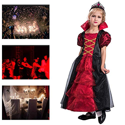 Masquerade Mädchen Prinzessin Kostüm - JH&MM Halloween Kinderkleidung Mädchen European Court Prinzessin Abendkleid Set Cosplay Party Game Masquerade Performance,M