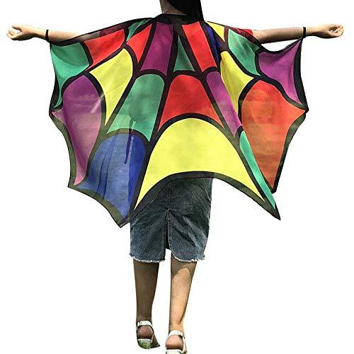 Red Hood Kostüm Batman - WOZOW Damen Schmetterling Kostüm Fasching Schals Nymphe Pixie Poncho Umhang für Party Cosplay Karneval Fasching (Mehrfarbig)