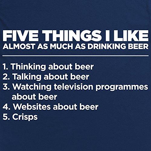 Five Things I Like - Beer Langarmshirt Funny Novelty Gift, Herren Dunkelblau