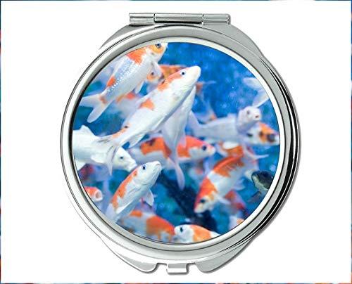 Yanteng Spiegel, Reisespiegel, Tintenfischmotiv des Taschenspiegels, tragbarer Spiegel 1 X 2X Vergrößerung