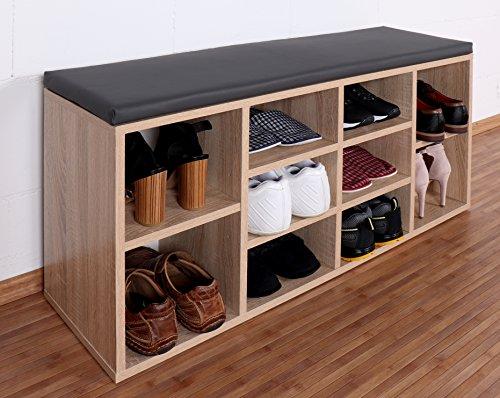 RICOO Schuhregal mit Sitzfläche Schuhschrank WM033-ES-A Schuhablage Schuhkommode Organizer Boden...