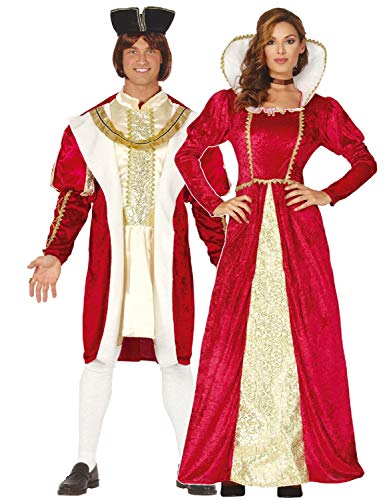 Couples Ladies & Mens Matching Royal Regal Red Gold Tudor King & Queen Historical Medieval TV Book Film Fancy Dress Costume Outfits (Ladies UK 10-12 & Mens Large) (Royal Red Queen Kostüm)