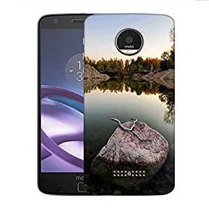 Snoogg Rock in The River Designer Protective Phone Back Case Cover for Motorola Moto Z