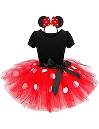 YiZYiF Baby Kinder Mädchen Kleid Halloween Karneval Kostüm Partykleid Polka Dots Cosplay Faschingskostüm mit Harreif Ohren Gr. 80-140