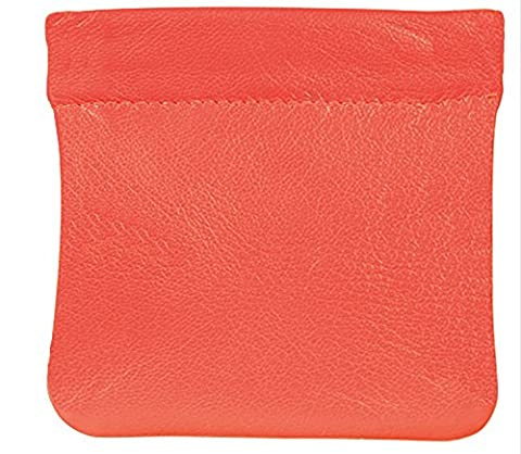 Soft Quality Leather Snap Top Coin Purse (Tangerine)