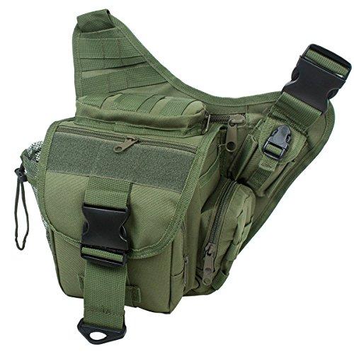 S-ZONE 600D Polyester Molle Tactical Schulterriemen Tasche Military Reise Rucksack Kamera Geld Utility Bag Taille Vagabund Daypack Versipack grün