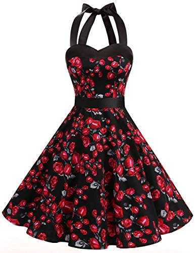 Dresstells Neckholder Rockabilly 50er Vintage Retro Kleid Petticoat Faltenrock Black Rose S (Kleid Rose)